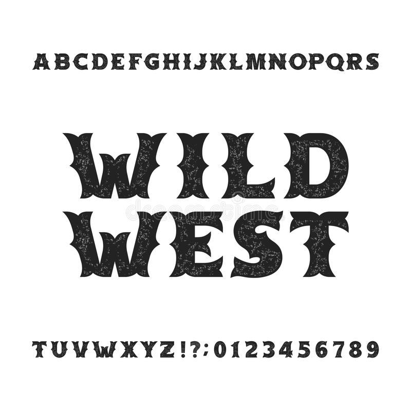 Vintage typeface. Retro distressed alphabet font. Wild west bold letters and numbers. Rough vector typeset for labels, headlines, posters etc stock illustration