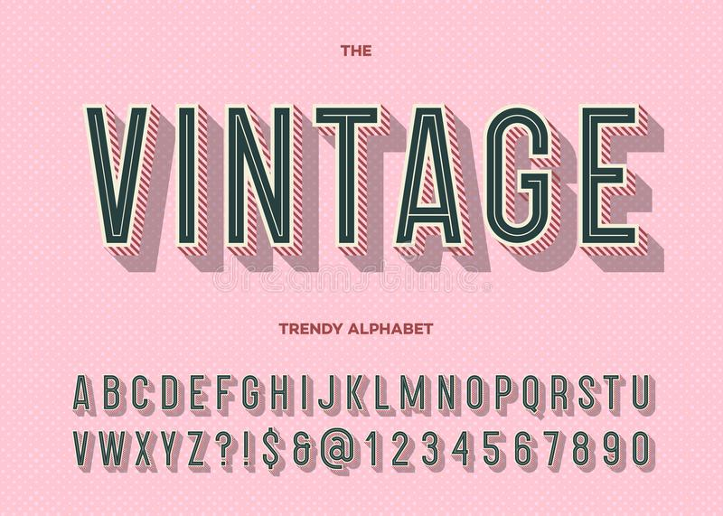 Vintage typeface. Retro modern alphabet trendy typography royalty free illustration