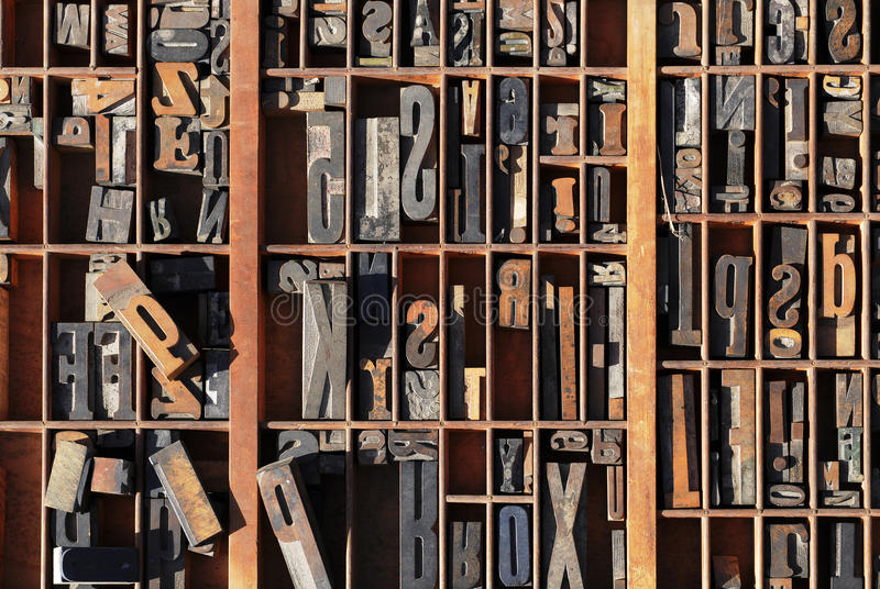 Vintage typeset letter press stored royalty free stock photos
