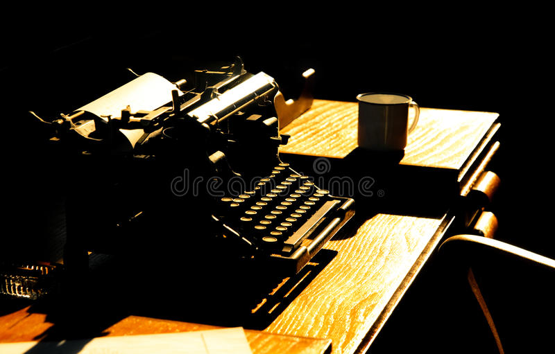 Vintage typewriter. Vintage journalists office and typewriter abstract royalty free stock photography