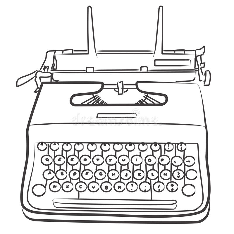 Vintage typewriter - bn. Illustration of vintage typewriter isolated on white - bn Also available in color version stock illustration