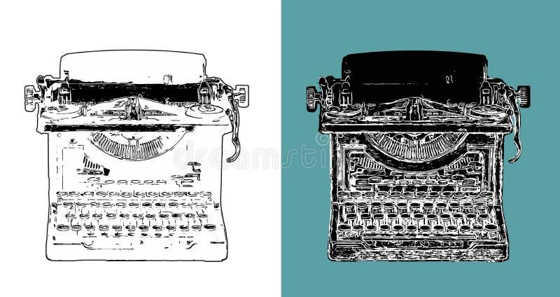 Vintage Typewriter Digital Sketch royalty free stock images