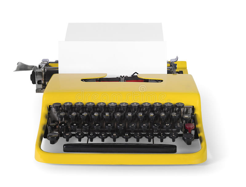 Vintage typewriter in front view - with clipping path royalty free stock image