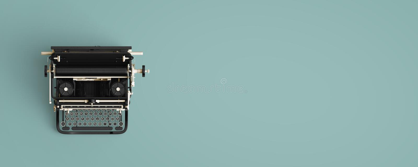 Vintage typewriter header. Retro machine technology - top view and creative flat lay design stock images