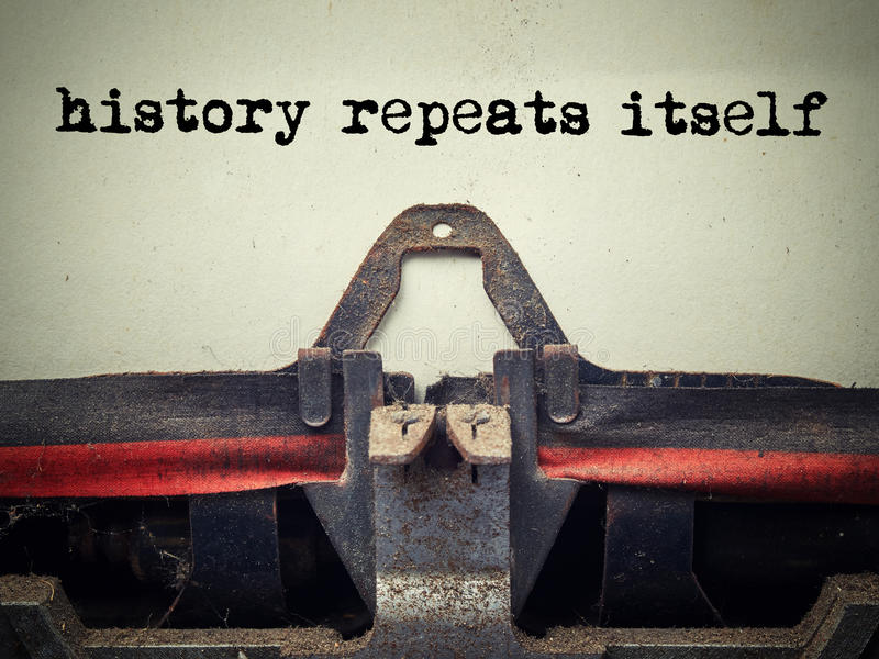 Vintage typewriter history repeats itself text stock photography