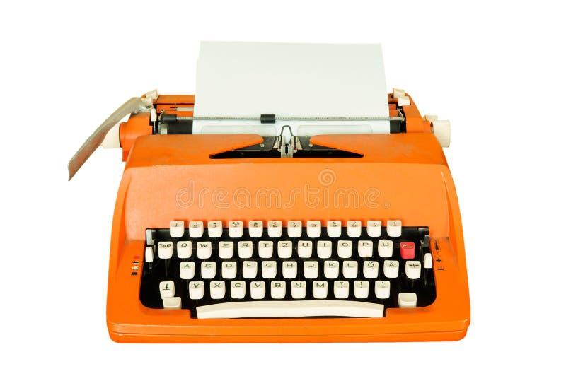 Vintage typewriter isolated. On white stock photography