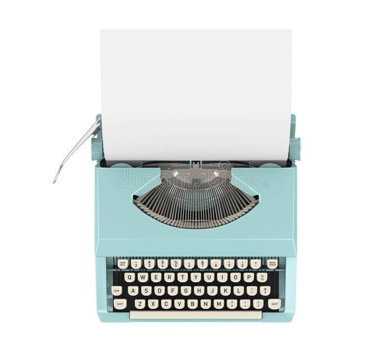 Vintage Typewriter Isolated. On white background. 3D render stock image