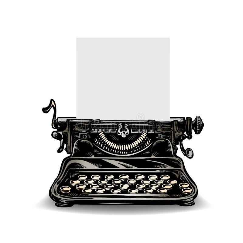 Vintage typewriter isolated on white background. Vector illustration royalty free illustration