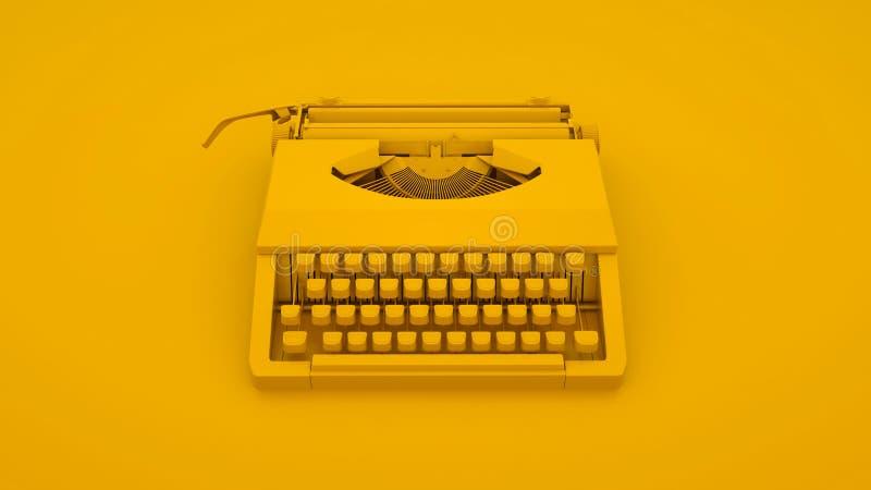 Vintage Typewriter isolated on yellow background. 3d illustration stock illustration