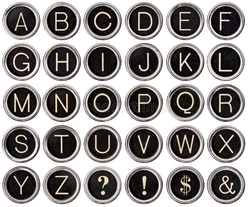 Vintage Typewriter Key Alphabet stock photo