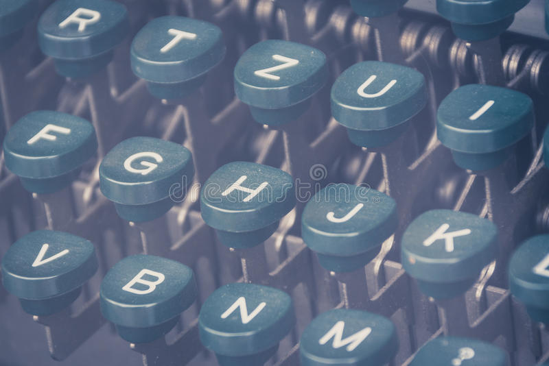Vintage typewriter keyboard closeup. Letters on vintage typewriter keyboard closeup stock images