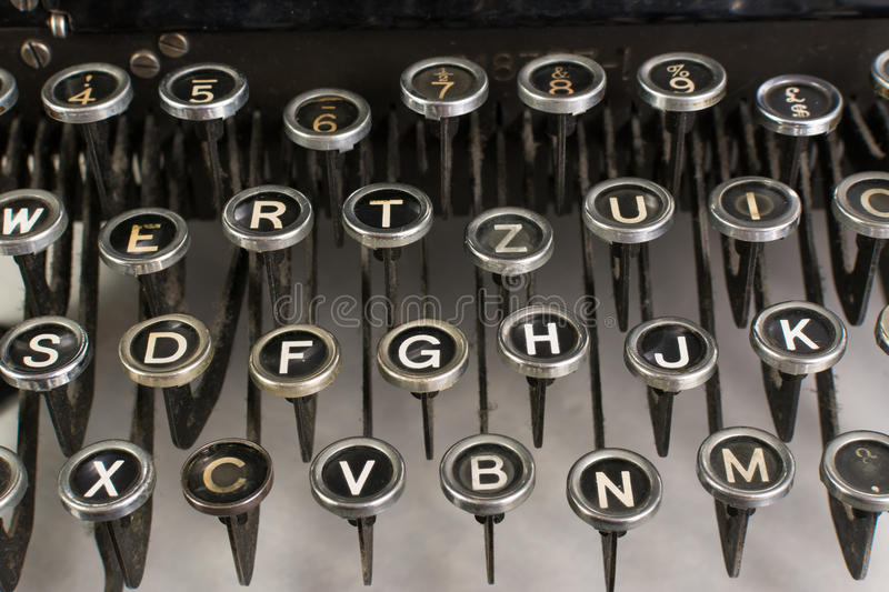 Vintage typewriter keys. Closeup of vintage typewriter keys stock image