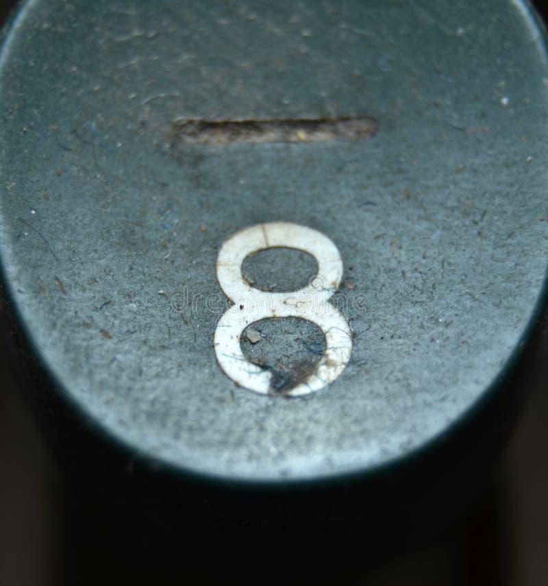 Vintage Typewriter Keys, Number 8 royalty free stock image