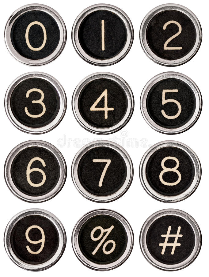 Vintage Typewriter Number Keys. Full set of vintage typewriter number keys including percent and pound signs. Each key is isolated on white with clipping path stock images