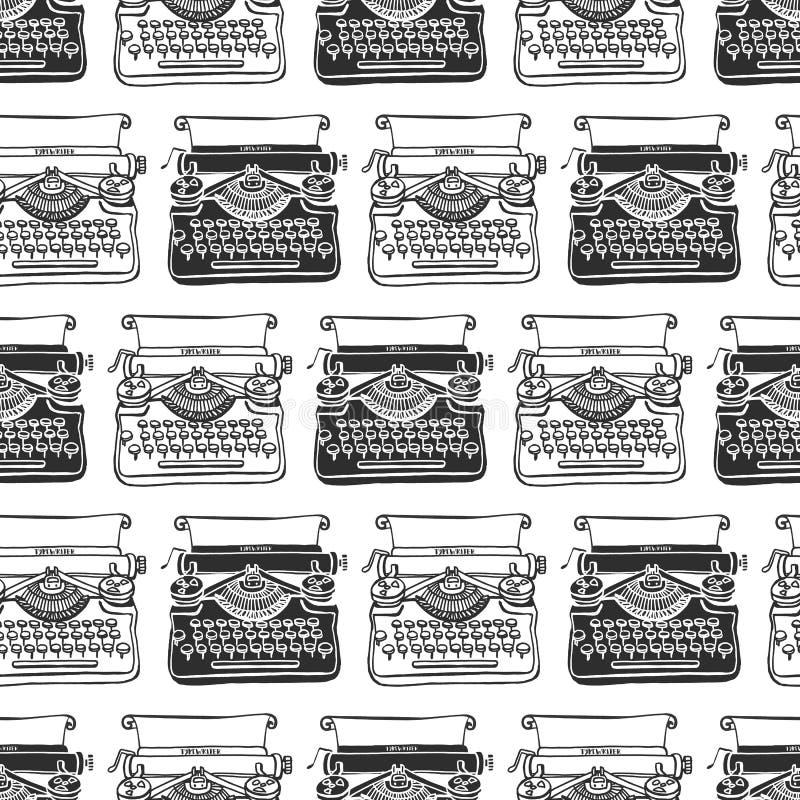 Vintage typewriter seamless background. Hand drawn vector vector illustration