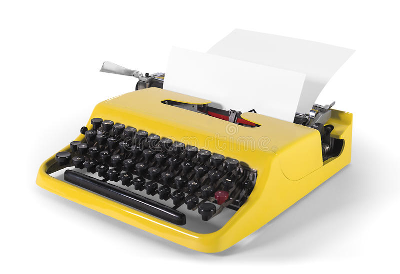 Vintage typewriter in side view - with clipping path royalty free stock photo