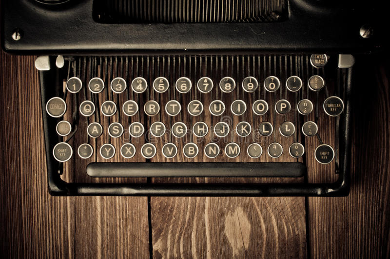 Vintage typewriter. Touch-up in retro style stock images