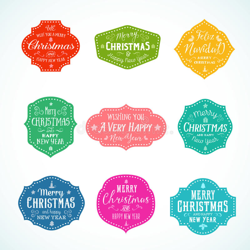 Vintage Typography Bright Color Cute Christmas Vector Badges, Labels or Stickers Set. Retro Shapes With Candle, Star royalty free illustration
