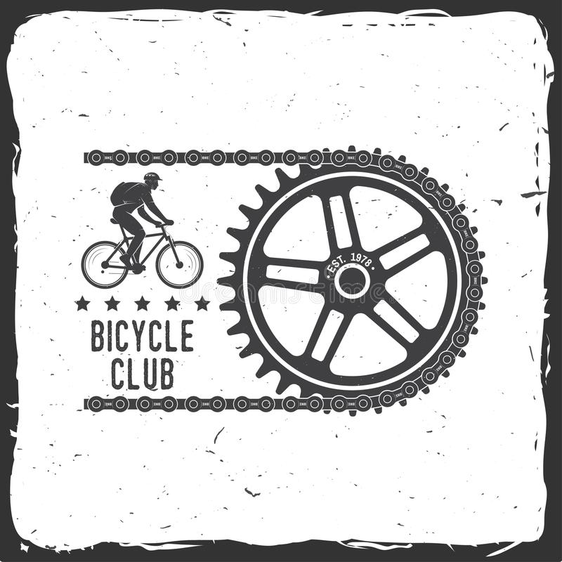 Vintage typography design with cycling Gear and chain silhouette. Extreme sport royalty free illustration