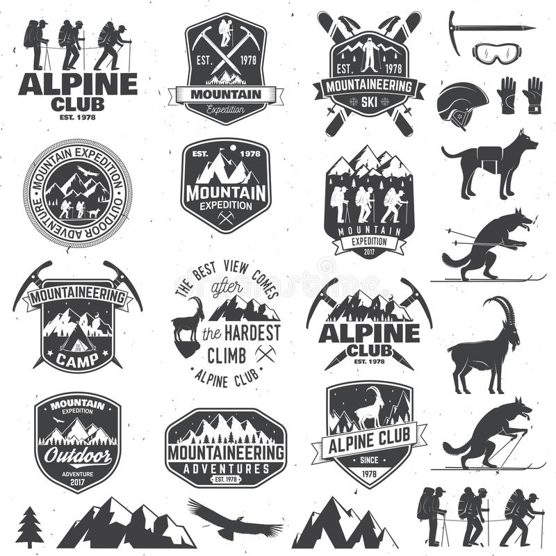 Vintage typography design with mountaineers and mountain silhouette. vector illustration