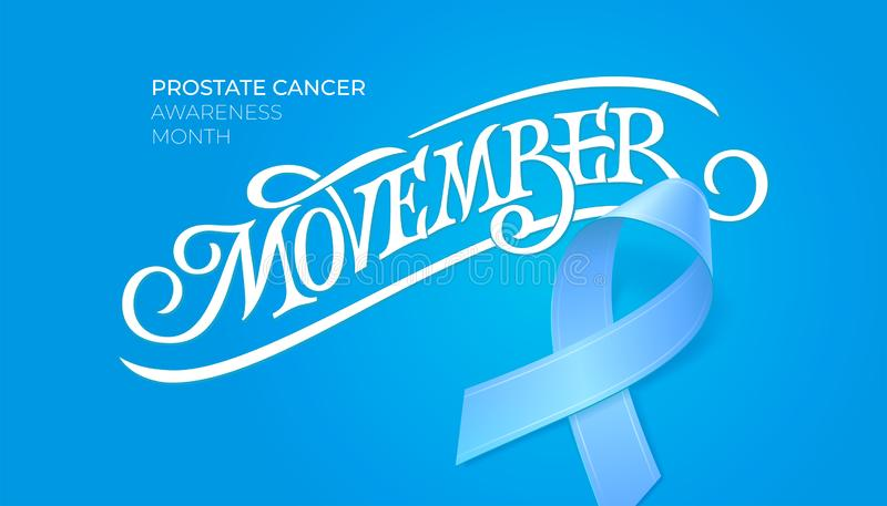 Vintage typography Movember. Prostate cancer awareness month. November symbol. Blue ribbon and sign for card, poster royalty free illustration