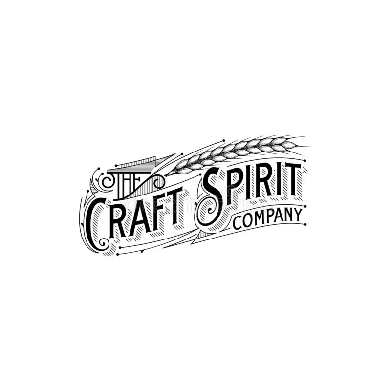 Vintage typorgraphy logo design inspiration, art deco vector stock illustration