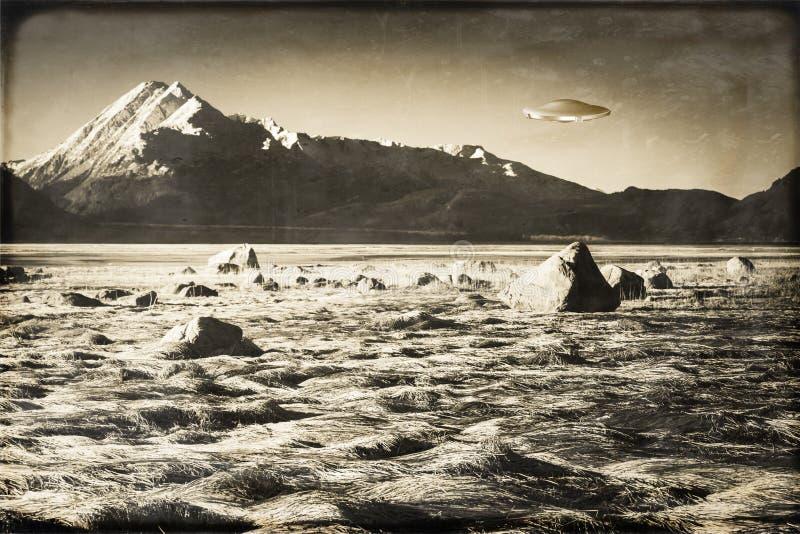 Vintage UFO in Alaska stock photo