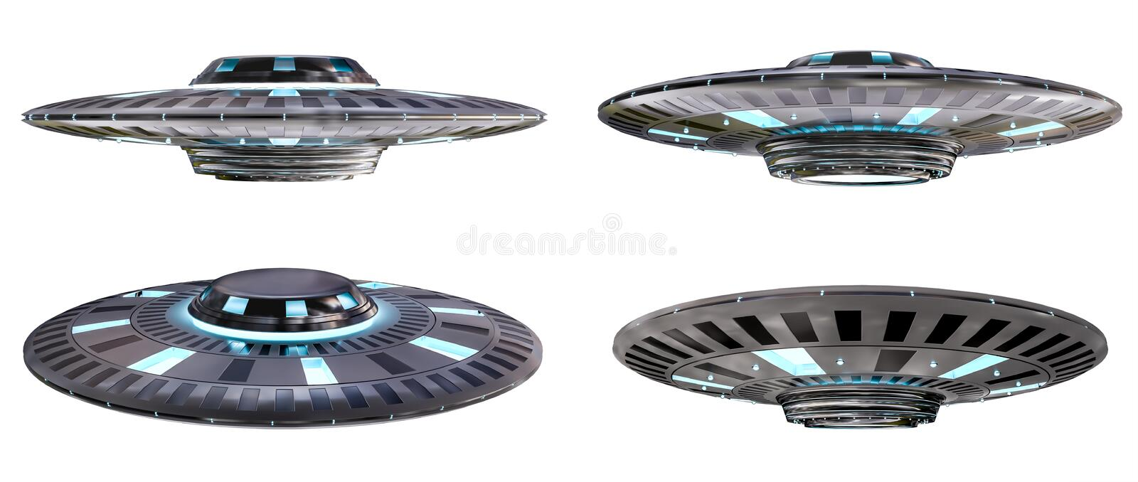 Vintage UFO collection isolated on white background 3D rendering stock illustration