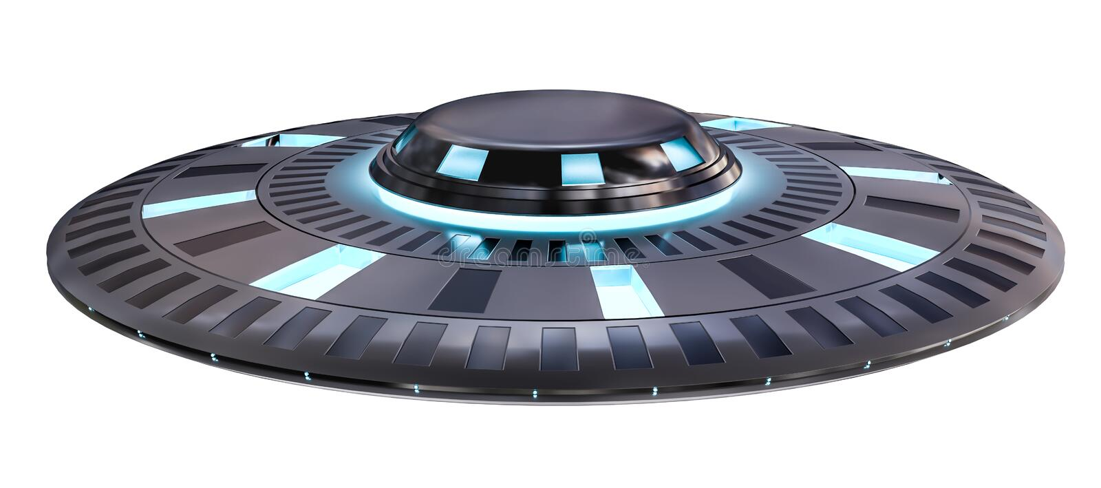 Vintage UFO isolated on white background 3D rendering royalty free illustration