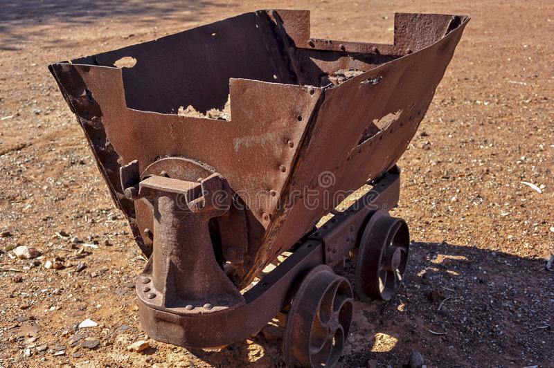 Vintage underground gold mining ore wagon, sometimes pushed on rails or horse pulled. Underground gold mining ore wagon, sometimes pushed on rails by miners or royalty free stock photography