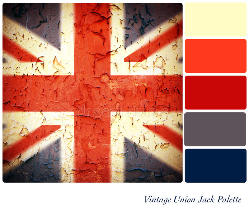 Vintage Union Jack Palette. Vintage Union Jack background colour palette with complimentary swatches royalty free stock photos