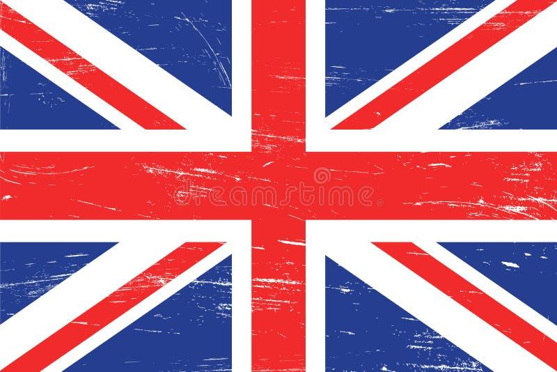 Vintage United Kingdom flag with grunge texture stock illustration