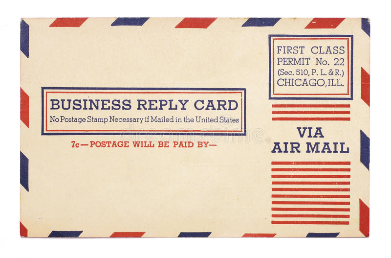 Vintage United States Airmail Business Reply Card. A vintage United States first class, airmail business reply card with red and blue stripes around border royalty free stock images