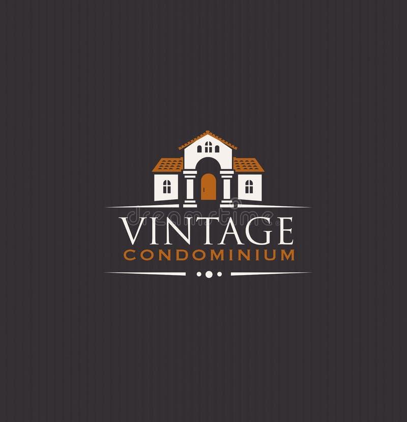 Vintage Upscale Condominium Creative Vector Emblem Concept.  stock illustration