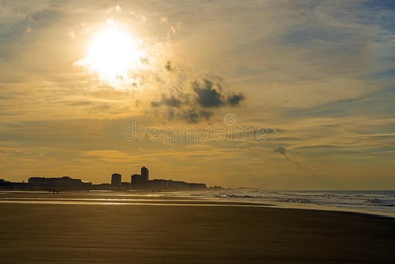 Vintage Urban Skyline of Ostend at Sunset, Belgium. The urban skyline and cityscape of Ostend, Oostende in Dutch, with vintage style colors at sunset, West stock photo