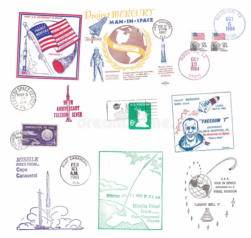 Vintage US airmail labels with space motifs stock illustration