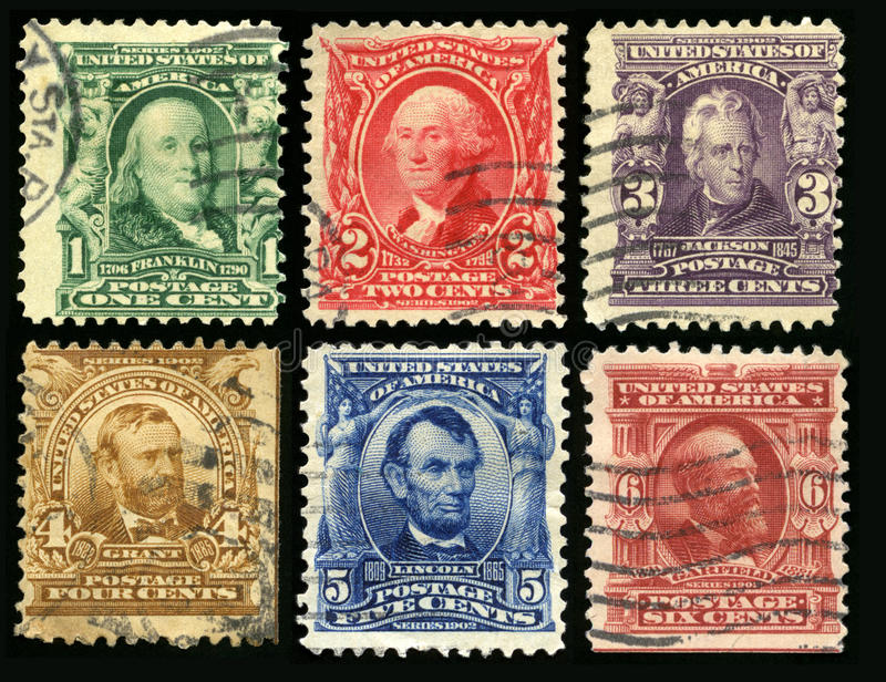 Vintage US Postage Stamps 1902. UNITED STATES, CIRCA 1902: Vintage US Postage Stamps each celebrating either a founding father, senator or US President Franklin royalty free stock photography