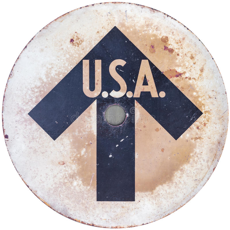 Vintage USA direction sign stock photography