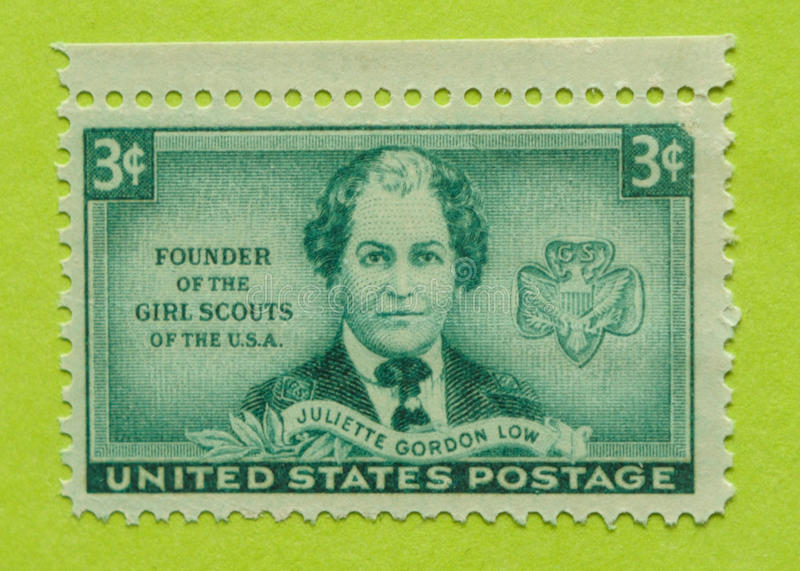 Vintage USA postage stamp. A vintage United States unused postage stamp of Juliette Gordon Low - Founder of the Girl Scouts of the USA royalty free stock photography