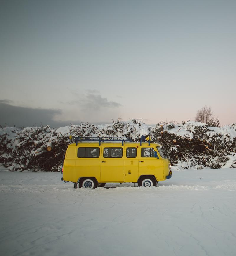 Free Vintage Ussr Yellow Van Winter Snow Forest Stock Image - 107071941