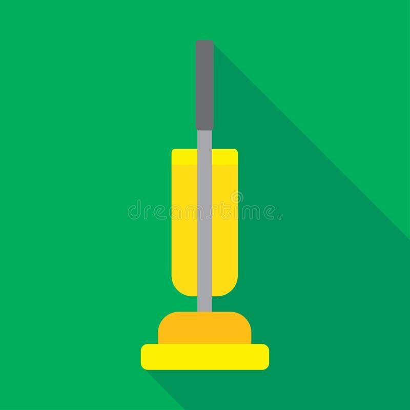 VINTAGE VACUUM CLEANER OR RETRO HOOVER. Illustrate of yellow vacuum cleaner or retro hoover on green background stock illustration