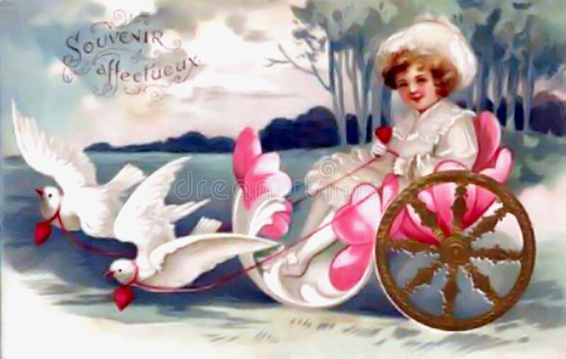 Vintage Valentine Doves Pulling Little Girl stock image
