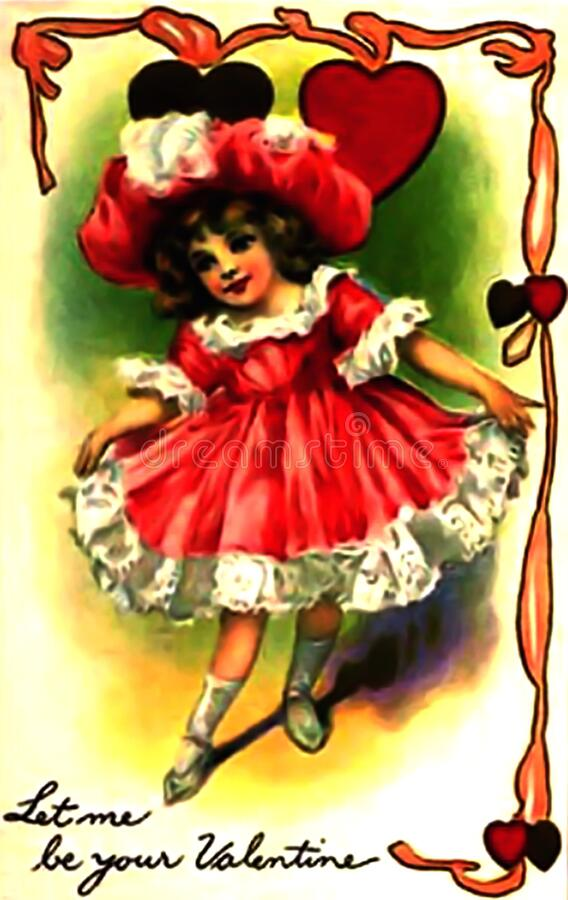 Vintage Valentine Let me be your valentine little girl royalty free stock photos