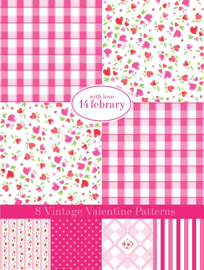 Vintage Valentine Patterns stock illustration