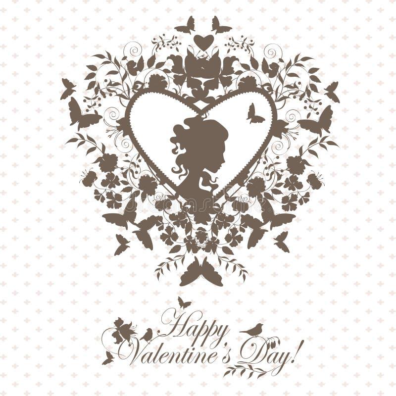 Vintage valentine postcard royalty free illustration