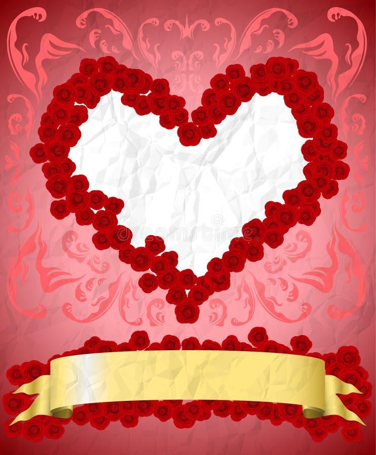 Vintage Valentine's Day card vector illustration