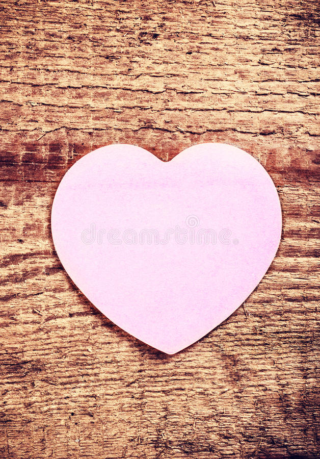 Download Vintage Valentines Day Card With Paper Heart On Rustic Wooden Ba Stock Image
