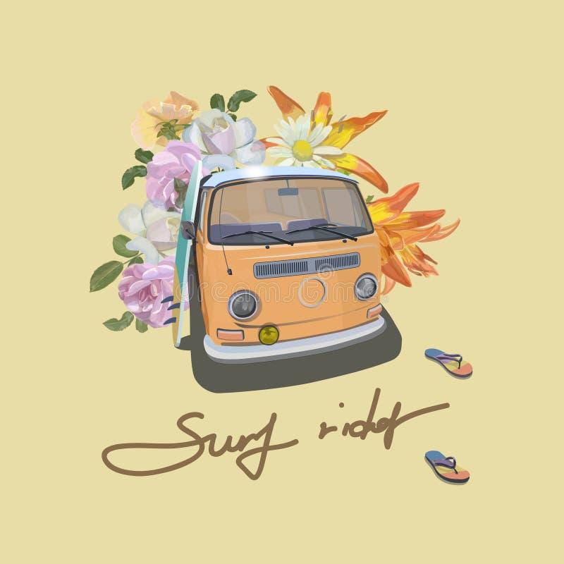 Vintage Van Ônibus do estilo do surfista Projeto do vetor do slogan do cavaleiro da ressaca ilustração stock