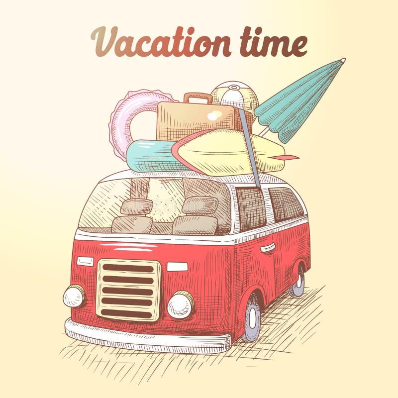 Vintage Van com férias da praia da ressaca Curso do verão pelo carro ilustração stock