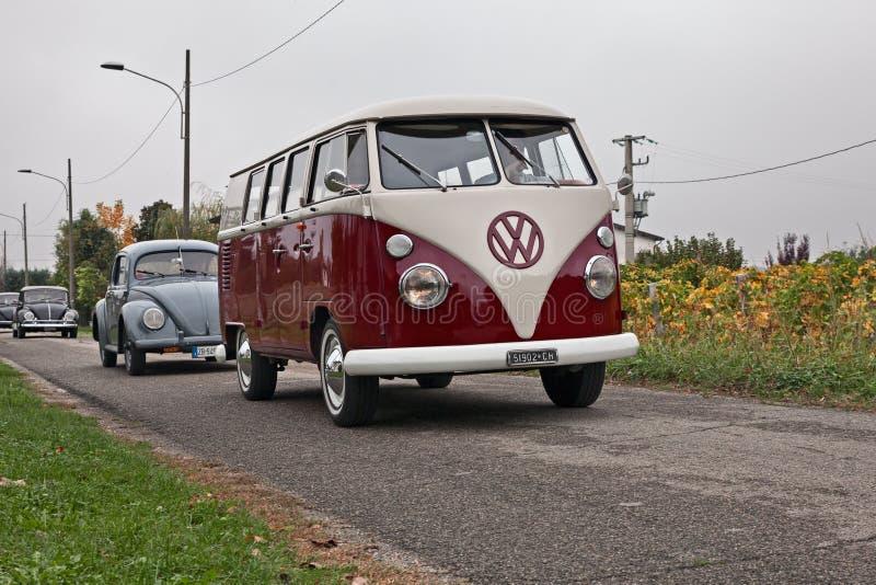 Vintage van Volkswagen Transporter Type - 2 T1 Spleet stock afbeeldingen
